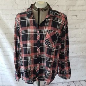 Faded Glory Women's XL Flannel Pink Black White